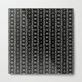 Mudcloth No.2 in Black + White Metal Print
