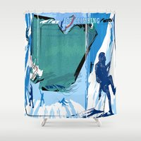 climbing Shower Curtains featuring Ice Climbing by Robin Curtiss