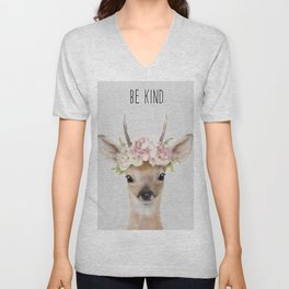 deer print, deer art painting Unisex V-Neck