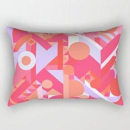 GEOMETRY SHAPES PATTERN PRINT (WARM RED LAVENDER COLOR SCHEME) Rectangular Pillow