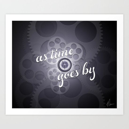 """As Time Goes By"" - black and white vector artwork Art Print"
