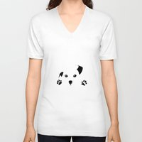 puppy V-neck T-shirts featuring Puppy by Kristijan D.