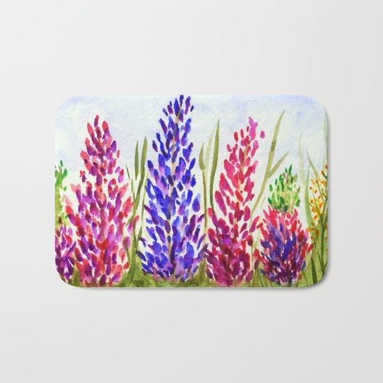 Watercolor Floral Art, Lupine Wildflowers Bath Mat