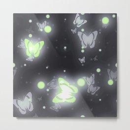 Agender Pride Glowing Floating Butterflies Metal Print