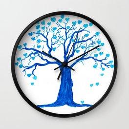 Blue Heart Tree Wall Clock