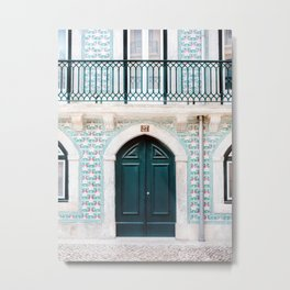 The green door | Lisbon Portugal architecture | Fine art travel photography print Metal Print