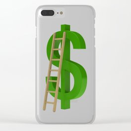 Worker with briefcase next to the green dollar symbol Clear iPhone Case