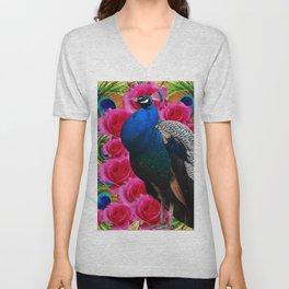 BLUE PEACOCK &  PINK ROSE FLOWERS BLUE MODERN ART Unisex V-Neck