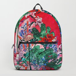 Ruby Red Floral Jungle Backpack