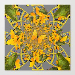 GOLDEN BUTTERFLIES & GREEN FROGS GREY MAMDALA Canvas Print
