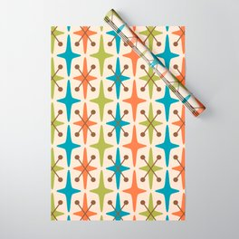 Mid Century Modern Abstract Star Pattern 441 Orange Brown Turquoise Chartreuse Wrapping Paper