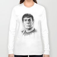 spock Long Sleeve T-shirts featuring Spock by Olechka