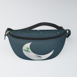 Little Green Man on Moon and Stars Fanny Pack