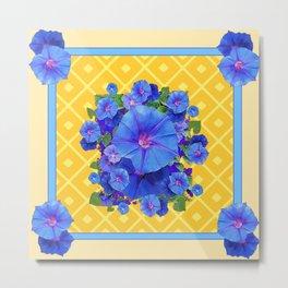 Blue Morning Glories & Gold  Patterns Art Metal Print