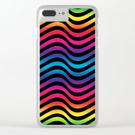 Wiggly Vibrant Multicolour Lines Clear iPhone Case