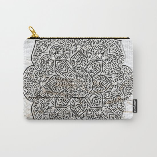 Mandala on White Wood Carry-All Pouch
