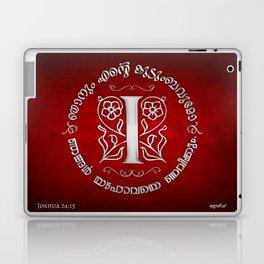 Joshua 24:15 - (Silver on Red) Monogram I Laptop & iPad Skin
