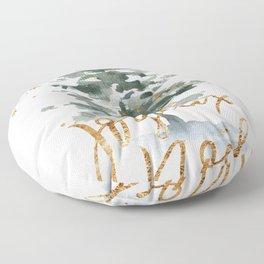 Christmas Tree Watercolors Noel Gold Typography Floor Pillow