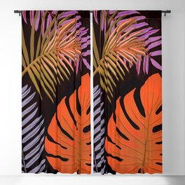 TROPICAL LEAVES & BLACK no2 Blackout Curtain