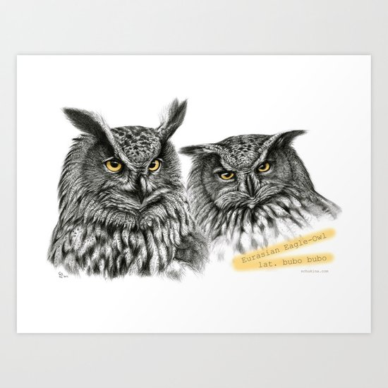 Two OWLs  G2010-11 Art Print