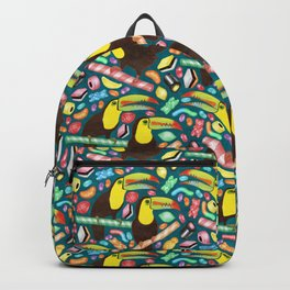 Toucandy - rainbow gummies, jelly beans and licorice surround tropical toucans on stripy candy canes Backpack
