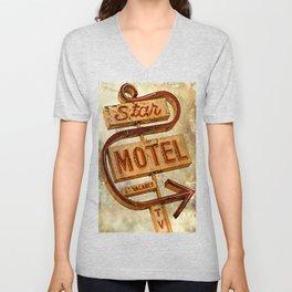 Vintage Grunge Motel Sign Unisex V-Neck
