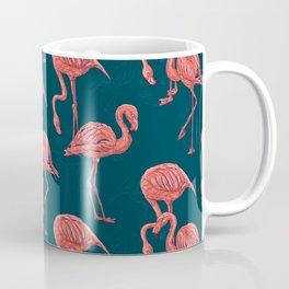 Living coral flamingo pattern Coffee Mug