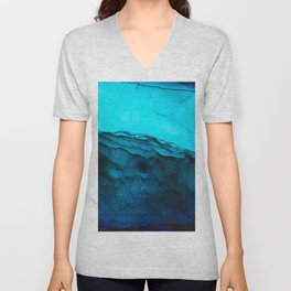 Blue Abstract Seascape Unisex V-Neck