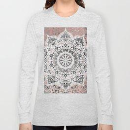 Dreamer Mandala White On Rose Gold Long Sleeve T-shirt