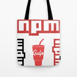 4 npm gulp package manager web developer programming stickers Tote Bag
