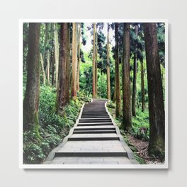 Begins with a simple step Metal Print