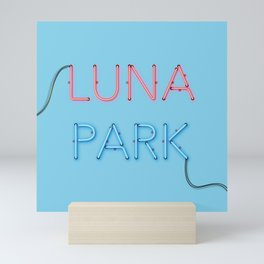 LUNA PARK - cyan strong Mini Art Print