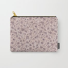 Ditsy Lilac Field of Petals on Pink,  Tiny Floral Pattern Carry-All Pouch