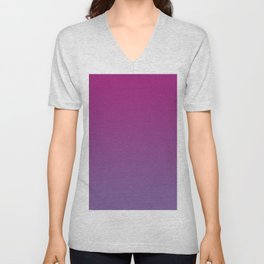 Pantone Chive Blossom Purple 18-3634 and Vivacious Red 19-2045 Ombre Gradient Blend Unisex V-Neck