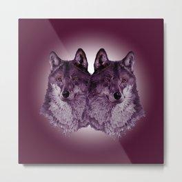 Season of the Wolf - Duet in Magenta Metal Print