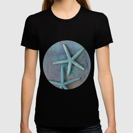 Turquoise Starfish on textured Background T-shirt