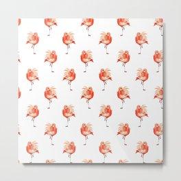 Feathery Friend Pattern Metal Print