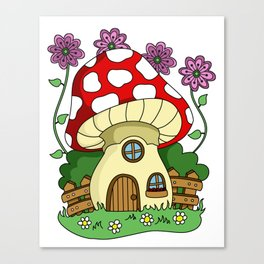 Toadstool Fairy House Canvas Print