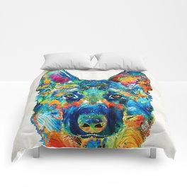 Colorful German Shepherd Dog Art By Sharon Cummings Comforters