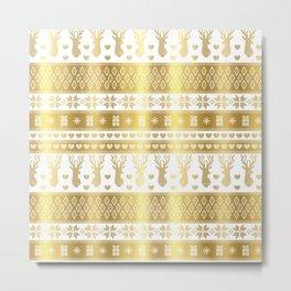 Nordic fair isle christmas pattern gold Metal Print