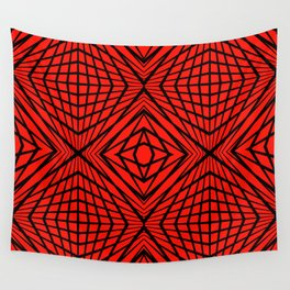 geometric, black on red Wall Tapestry