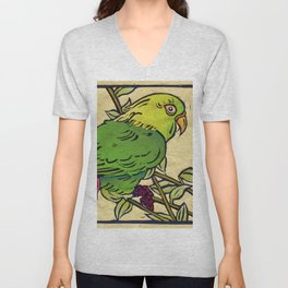 Parrot Linocut Unisex V-Neck