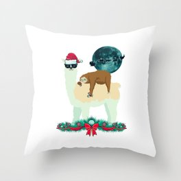 Llama Sloth Christmas Santa's Sleigh Silhouette In Front Of The Moon Throw Pillow
