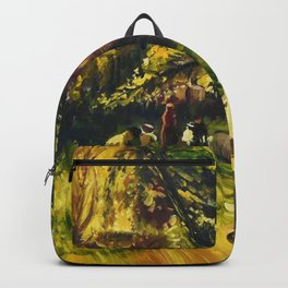 Sunday in Gramercy Park, NYC landscape painting by George Wesley Bellows Backpack