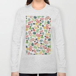 Cute funny animals summer tropical fruit pattern Long Sleeve T-shirt