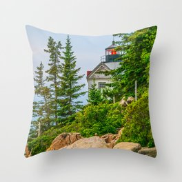 Bass Harbor Lighthouse Through the Forest Print Throw Pillow