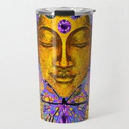 Purple Amethyst Butterfly Love & Gold Face Travel Mug