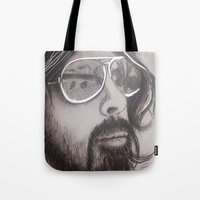 dave grohl Tote Bags featuring Dave Grohl by Erin Michal