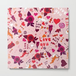 love pattern with hearts, cupid, candy and roses Metal Print