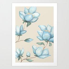 Blue Magnolias on Cream Art Print